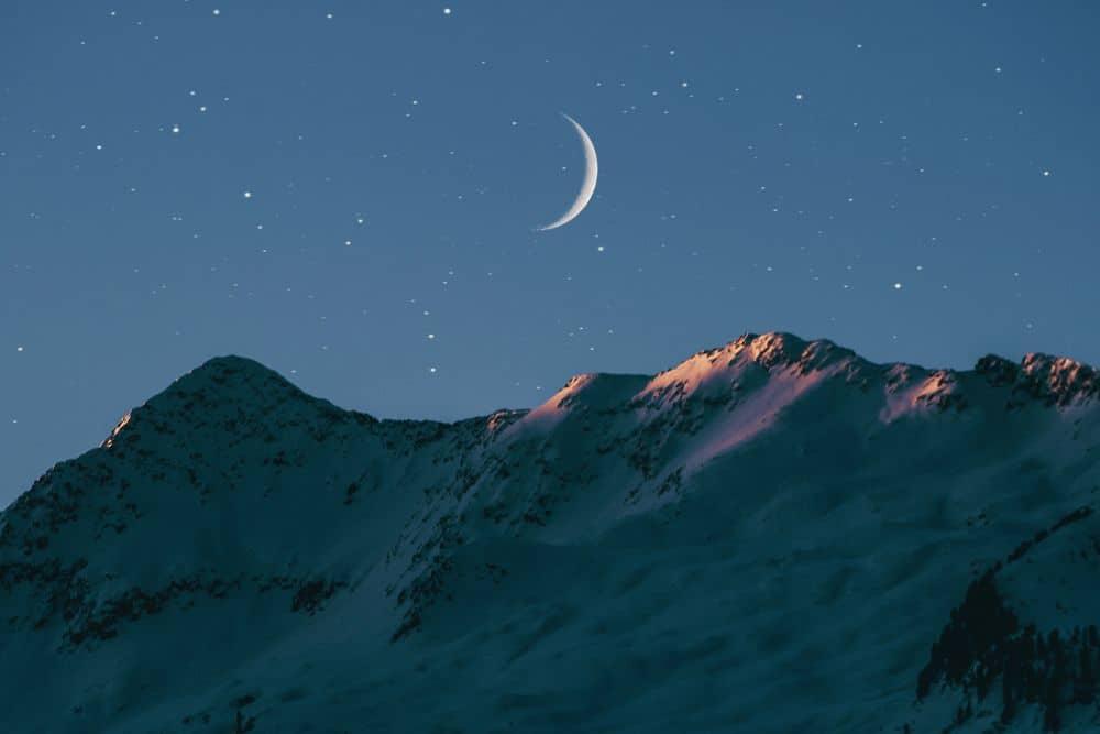 ירח, סהר, הרים, שלג