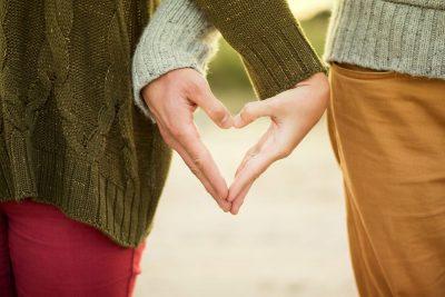 לב, זוג, ידיים