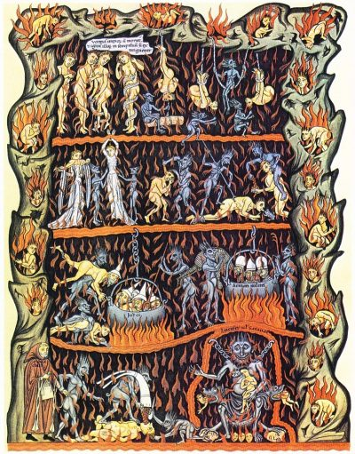 גן התענוגות, גיהינום, ימי הביניים