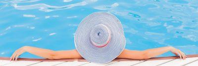 בריכת שחייה, אישה, כובע, רחב שוליים