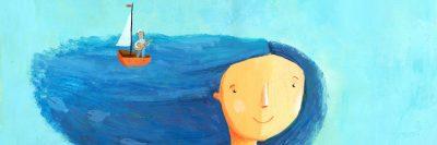 ילדה, ים, חלום, מלח, סירה