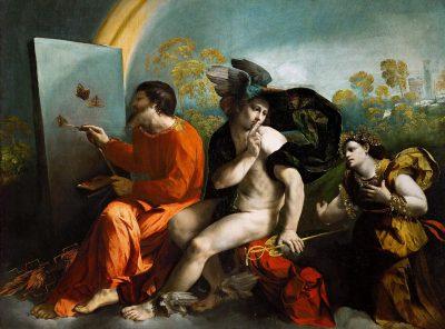 דוסו דוסי, מרקוריוס משתיק את וירטוס בזמן שזאוס מצייר