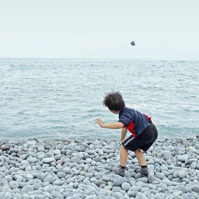 ילד, אבן, ים, חוף