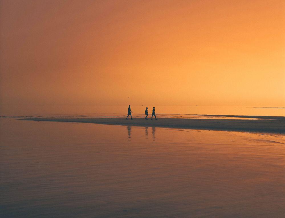 חוף, הליכה, שקיעה