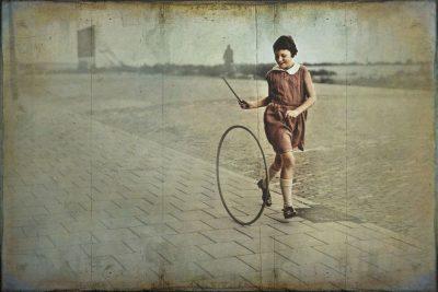גלגל, משחק, ילדה, רחוב