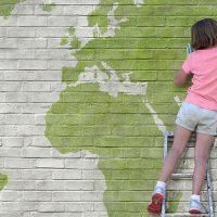 ילדה, סולם, עולם, מפה, ניקיון, ספוג