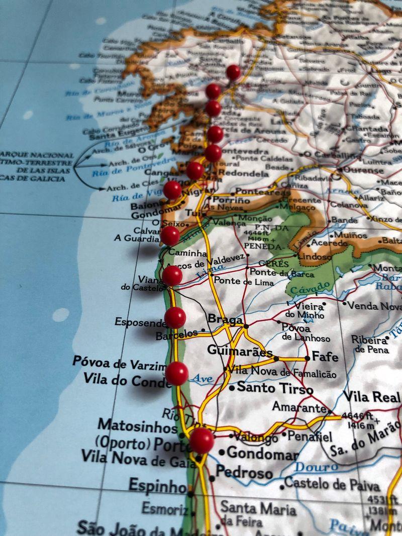 מפה, סיכות, הדרך לסנטיאגו, פורטוגל