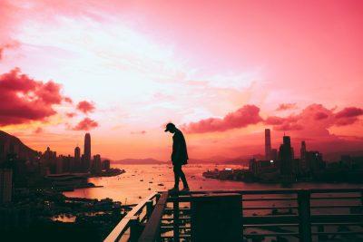 הונג קונג, שקיעה, בחור, מעקה, נוף