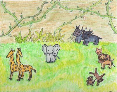ציור ילדים, חיות, ג'ונגל, פילים, קרנפים, ג'ירפות