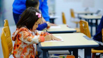 ילדה, לומדת, כיתה, לימודים, בית ספר