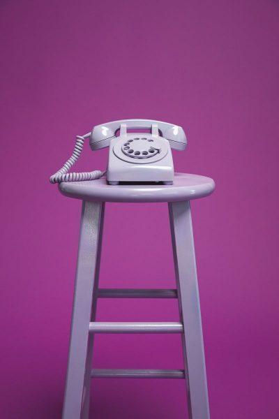 טלפון, חוגה, שרפרף, סגול