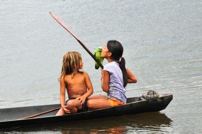 ילדים, סירה, אמזונס, תוכי