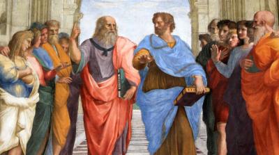 רפאל, אסכולת אתונה, אפלטון, אריסטו