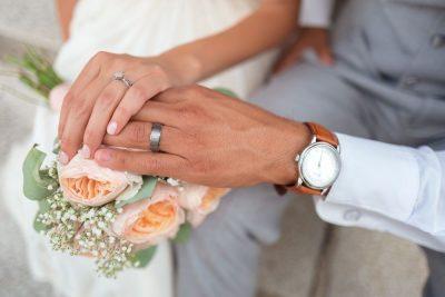 חתונה, זוג, פרחים, טבעות