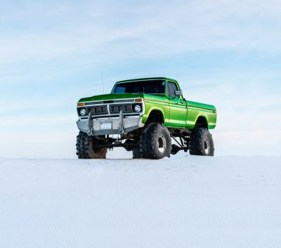 רכב שטח, ארבע על ארבע, ירוק, שלג