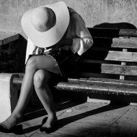 אישה, כובע, ספסל, צל, מנוחה