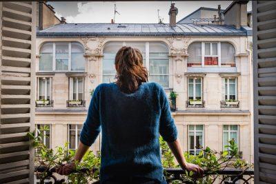 פריס, דירה, חלון, בחורה, סגר