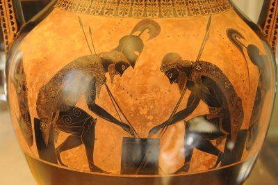 אקזקיאס, אמפורה, אכילס, אייאקס, משחק קובייה