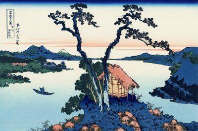 מראה הר פוג'י מעבר לאגם סווה, הוקוסאי