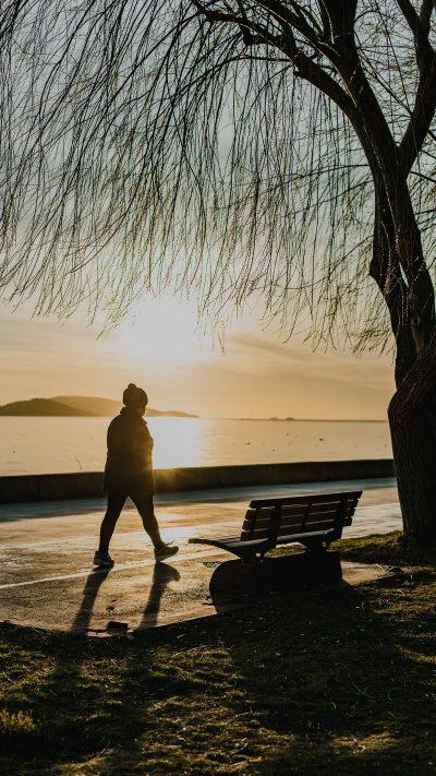 הליכה, לבד, שקיעה, פארק