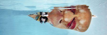 אישה, פנים, מתחת למים, בריכה