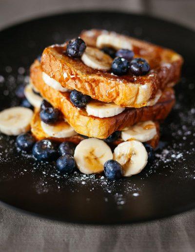 וופל, אוכמניות, בננות, אוכל, השמנה