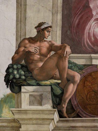 עירום, צעיר, הקפלה הסיסטינית, מיכאלאנג'לו