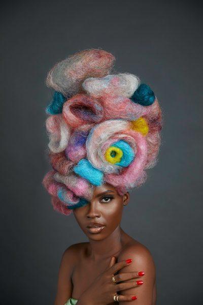 אישה, שחורה, שיער, צבעוני