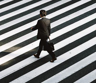 חליפה, עבודה, גבר, מעבר חציה