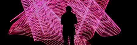 אדם, צללית, רשת, אורות