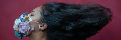 מסכה, פרחים, אישה, שיער שחור
