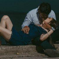 זוג, נשיקה, ים, אופק